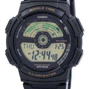 casio youth illuminator world time world map ae 1100w 1bv ae1100w 1bv mens