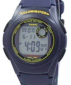 Casio Illuminator Dual Time Chrono Digital F-200W-2B F200W-2B Men's Watch