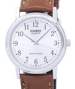 Casio Quartz Silver Dial Brown Leather MTP-1095E-7BDF MTP-1095E-7B Mens Watch