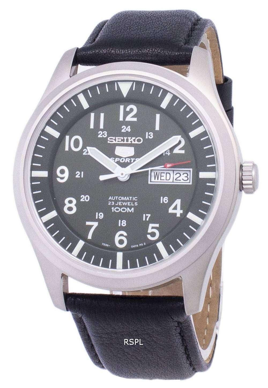 Seiko 5 Sports Automatic Ratio Black Leather SNZG09K1 LS10 Mens Watch