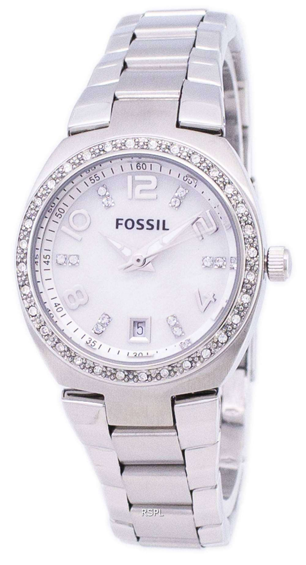 Fossil flash swarovski crystal mother of pearl dial am4141 womens watch downunderwatches for Mother of pearl dial watch