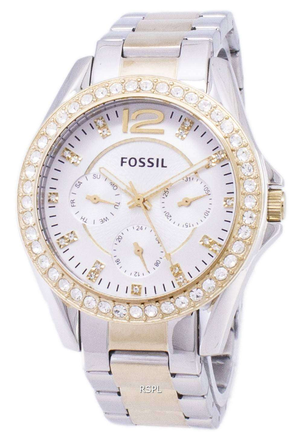 113a4868baf Fossil Riley Multifunction Silver And Gold Tone Crystal Dial ES3204 Womens  Watch 1 ...