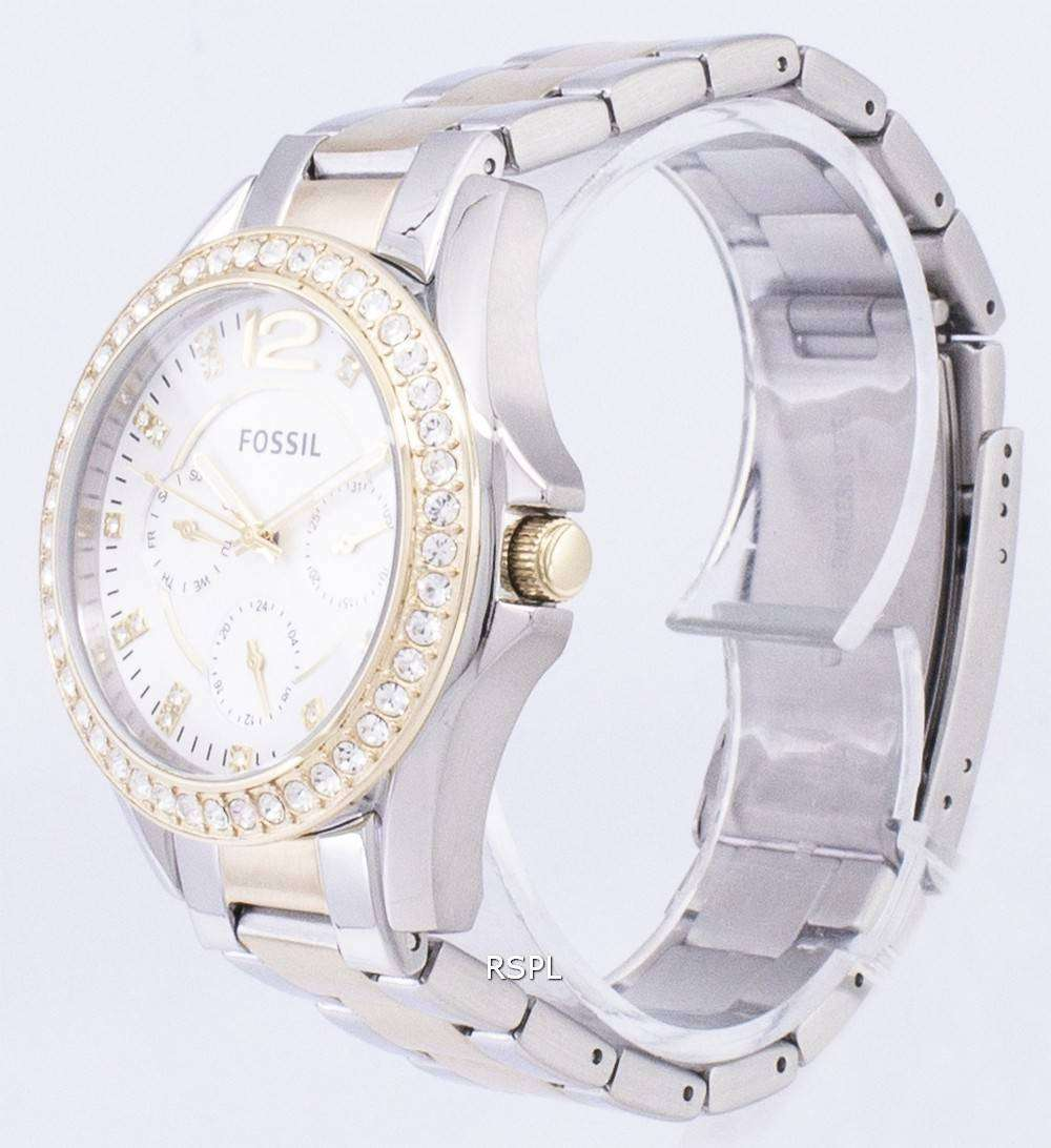 0079a86e265 ... Fossil Riley Multifunction Silver And Gold Tone Crystal Dial ES3204  Womens Watch ...
