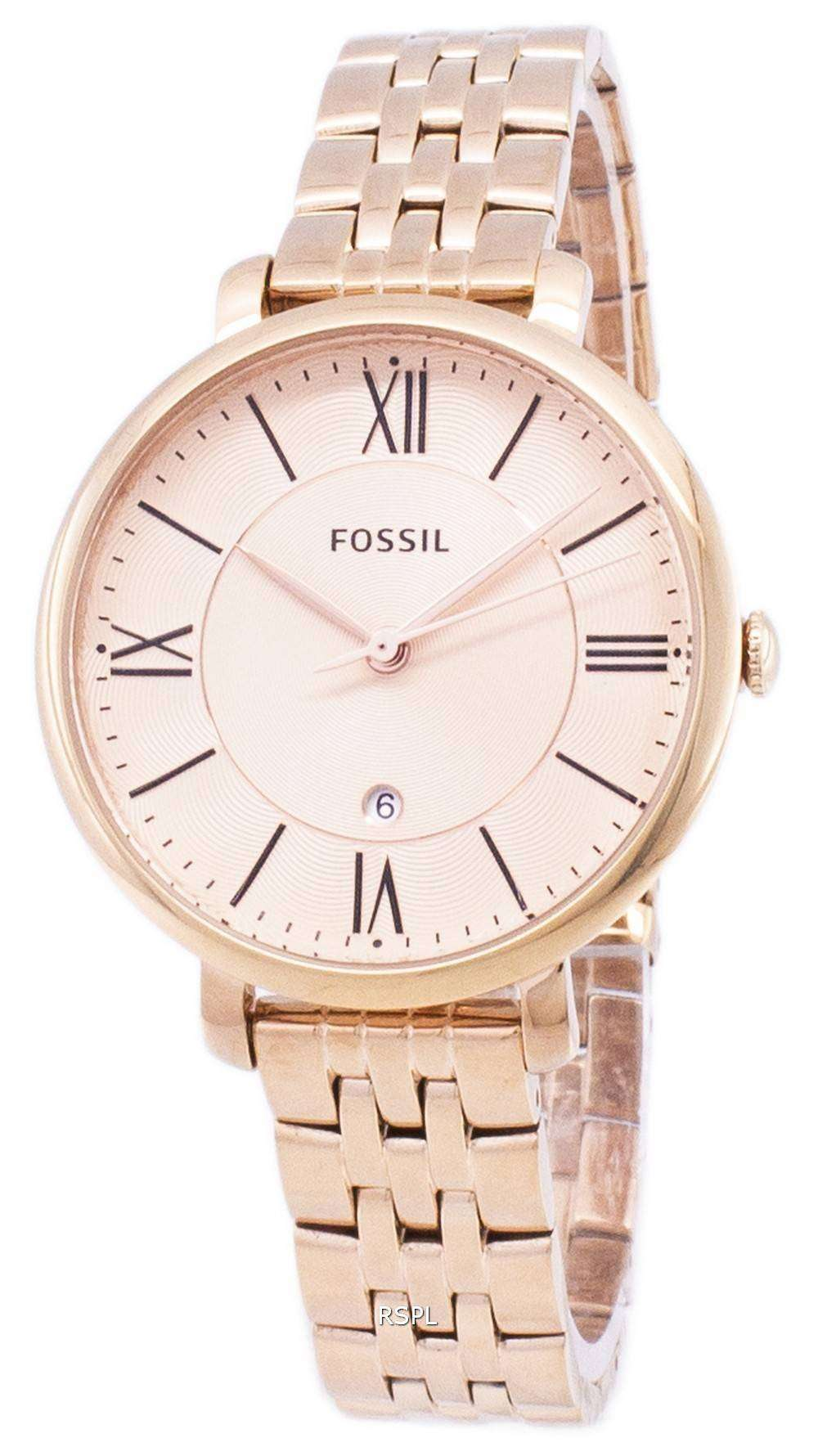 Fossil Rose Gold Jacqueline Women S Watch Es3435 Image Of Bear And Es3707 Gray Leather Tone Og Womens