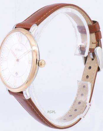 Fossil Jacqueline Silver Dial Brown Leather ES3842 Womens Watch