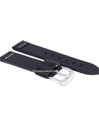 Black Ratio Brand Leather Strap 22mm