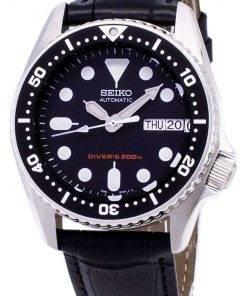 Seiko Automatic SKX013K1-MS1 Diver's 200M Black Leather Strap Men's Watch