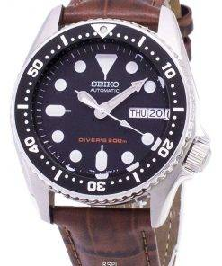 Seiko Automatic SKX013K1-MS2 Diver's 200M Brown Leather Strap Men's Watch
