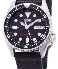 Seiko Automatic SKX013K1-MS3 Diver's 200M Black Leather Strap Men's Watch