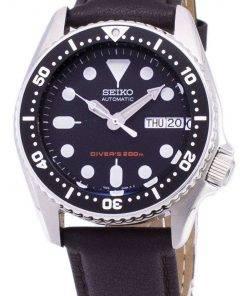 Seiko Automatic SKX013K1-MS6 Diver's 200M Dark Brown Leather Strap Men's Watch