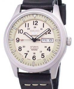 Seiko 5 Sports SNZG07J1-LS13 Military Japan Made Black Leather Strap Men's Watch