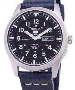 Seiko 5 Sports SNZG15J1-LS15 Automatic Japan Made Dark Blue Leather Strap Men's Watch