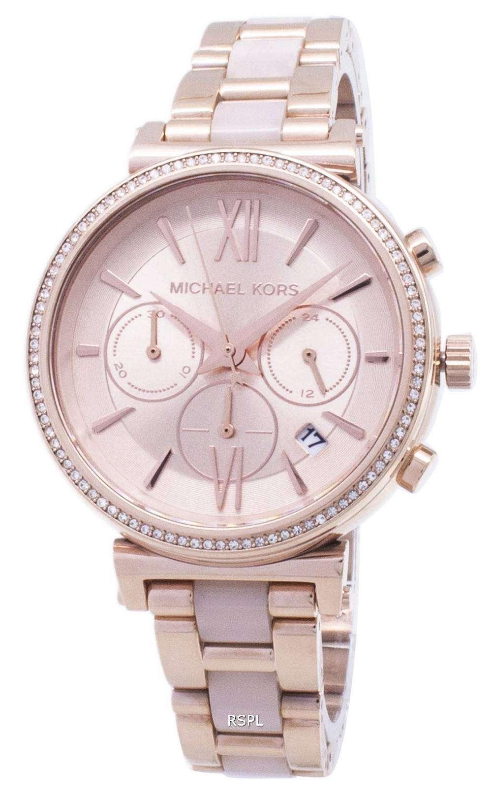 0e50c79675d6b Michael Kors Sofie Chronograph Quartz Diamond Accent MK6560 Women s Watch  ...