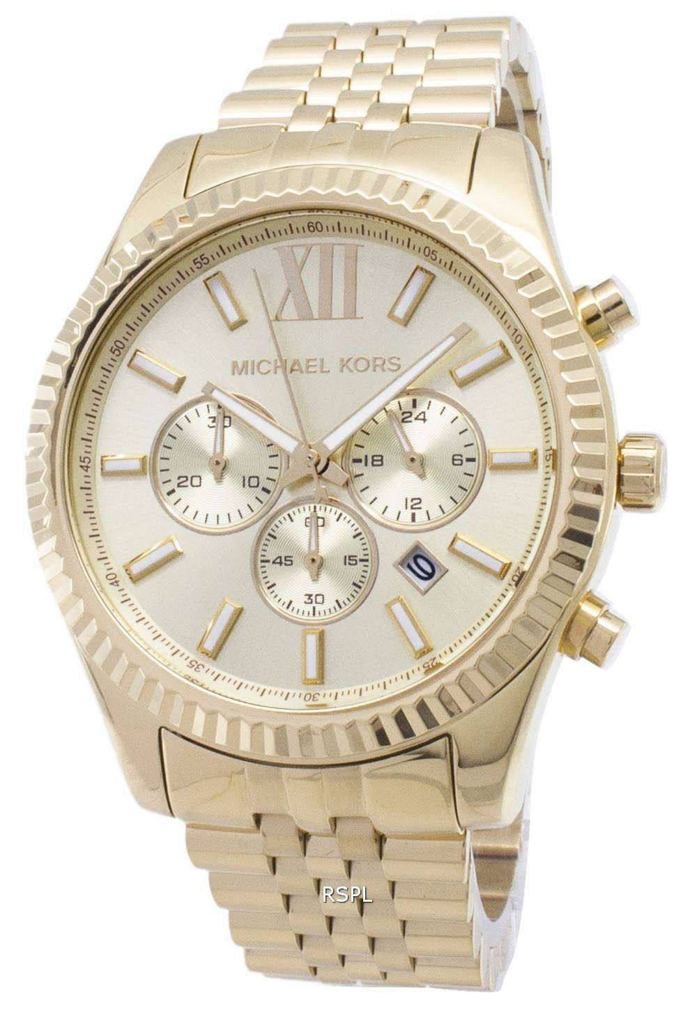 40b0b088fe4c Michael Kors Lexington Chronograph Champagne Dial MK8281 Mens Watch ...