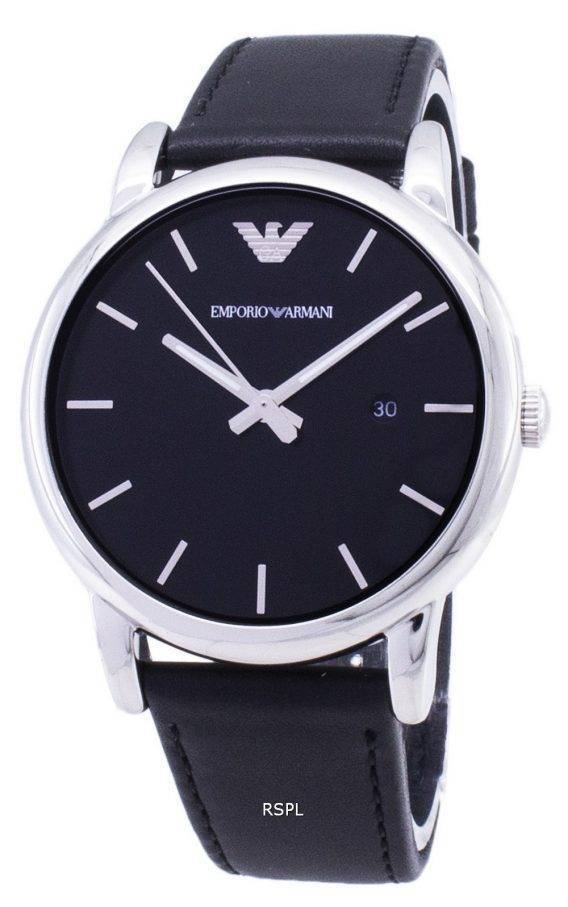 Emporio Armani Classic Black Dial Black Leather AR1692 Mens Watch 1