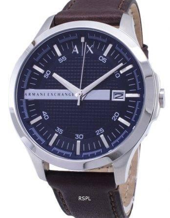 Armani Exchange Quartz Navy Dial Brown Leather Strap AX2133 Men's Watch