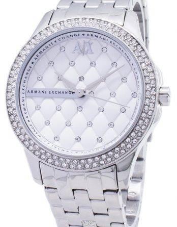 Armani Exchange Lady Hampton Silver Crystals Quilted Dial AX5215 Womens Watch